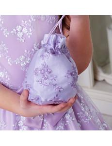 Сумочка-мешок сиреневого цвета с вышивкой Лулу