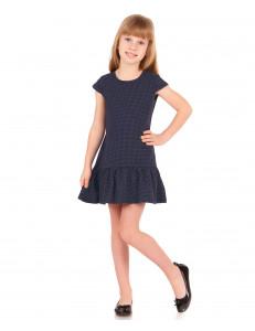 Платье с коротким рукавом темно-синего цвета в мелкий горох