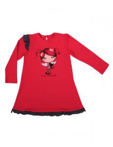 """Платье с длинным рукавом красного цвета """"девочка-ангел"""""""