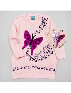 """Туника для девочки цвета розовый меланж с пайетками-перевертышами """"Бабочки"""""""