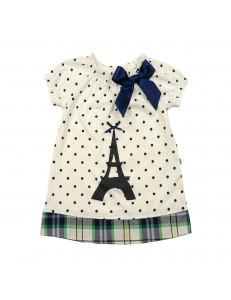 Платье-туника молочного цвета для девочек эйфелева башня