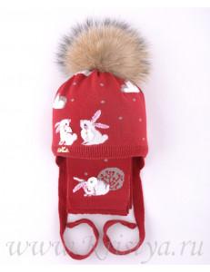 """Комплект темно-красного цвета шапка зимняя с шарфом """"Зайки"""""""