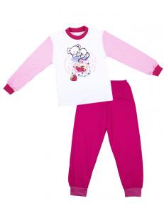 Пижама для девочек с длинным рукавом малинового цвета с мышкой