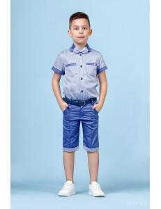 """Костюм для мальчиков голубой с синим из трех предметов """"Summer"""""""