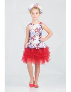 """Платье нарядное с многослойной юбкой красного цвета """"Брайт"""""""