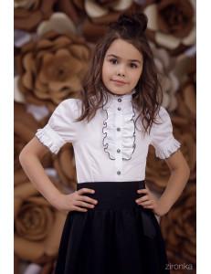 """Блузка белого цвета с рюшем """"Олеся"""""""