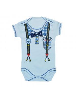 Боди для малышей голубого цвета с бабочкой